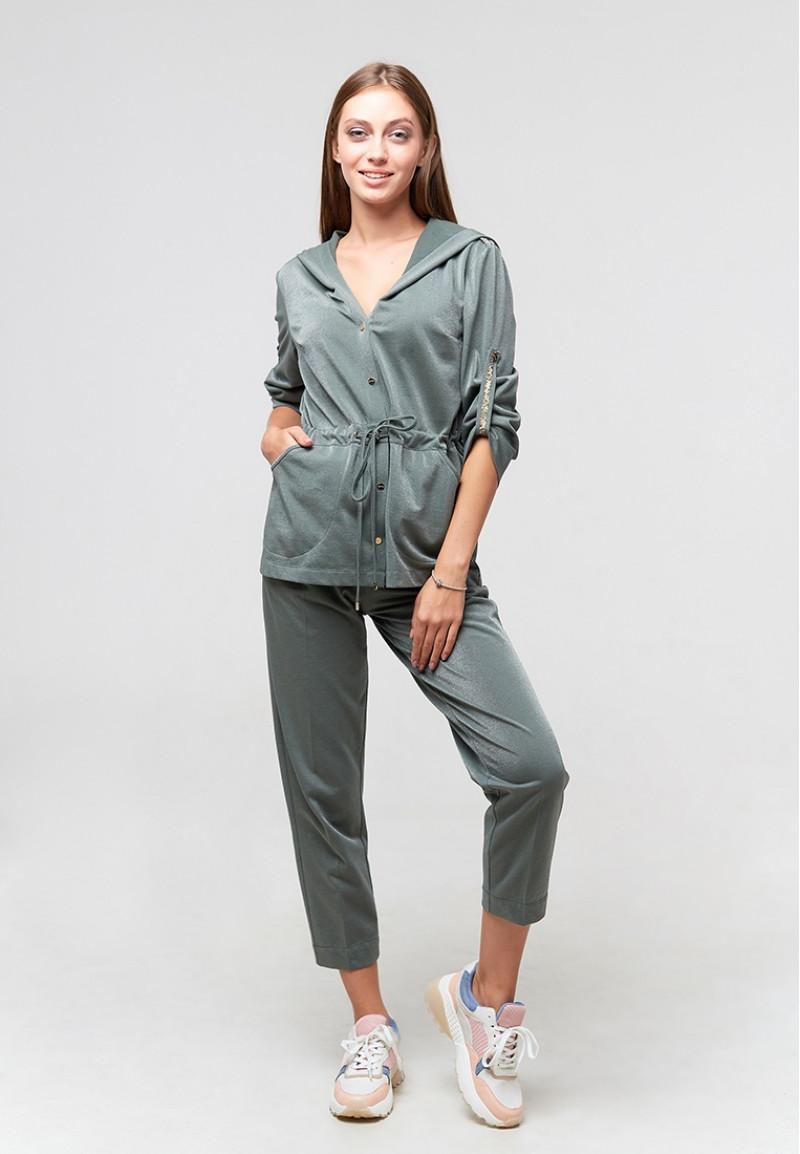 Женский зеленый костюм, ORA 208385/3 с люрексом