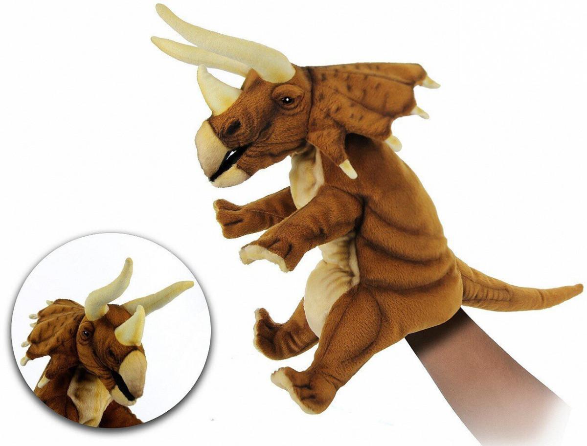 Hansa - Реалистичная мягкая игрушка на руку Трицератопс, 42 см