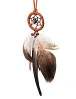 Ловец снов с кожаным шнурком коричневый, d-4 см