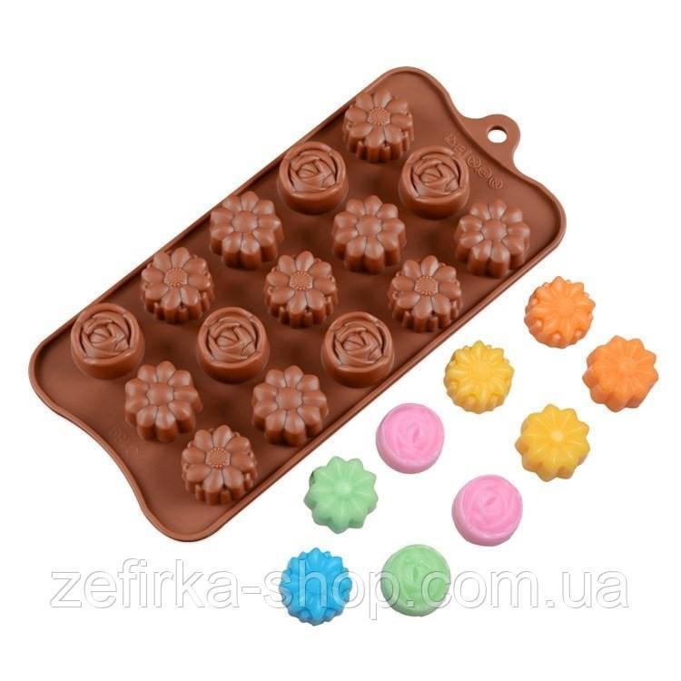 Силиконовая форма для конфет, желе цветы