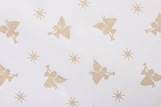 Скатерть новогодняя тканевая двусторонняя белая с люрексом диаметр Ø180 см круглая скатертина, фото 2