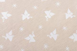 Скатерть новогодняя тканевая двусторонняя белая с люрексом диаметр Ø180 см круглая скатертина, фото 3
