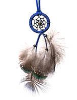 Ловец снов с пером павлина и  кожаным шнуром, d-4 см