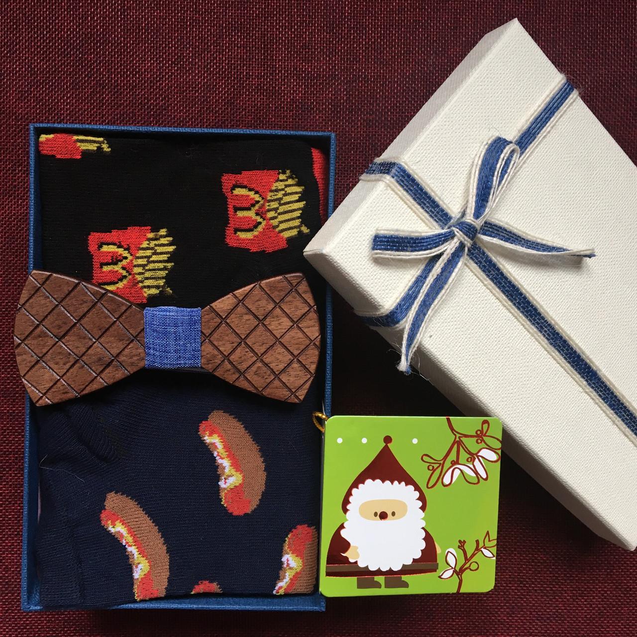 """Подарочный набор с Носками """"Бутерброды"""" и деревянной Бабочкой, фото 1"""