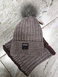 Зимний комплект: шапка с помпоном + хомут   52-54 см  коричневый