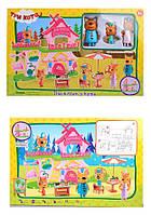 """Игровой набор """"Три кота"""" (в комплекте домик, 3 героя, мебель для пикника), M-8803"""