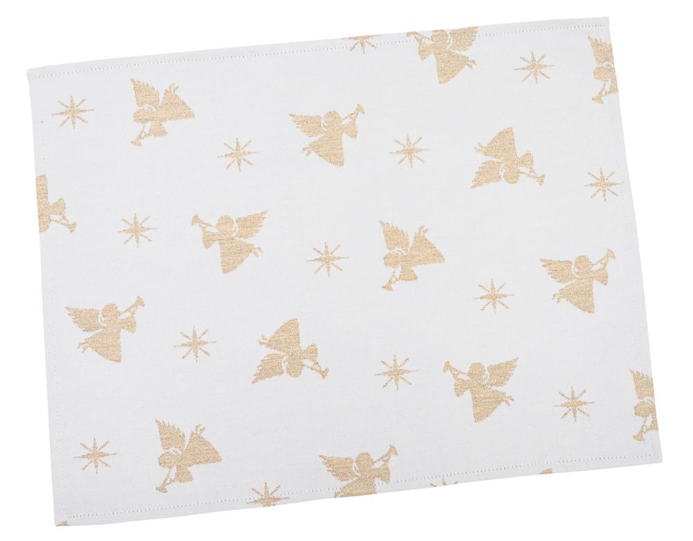 Салфетка подкладка под тарелку новогодняя тканевая белая 34 х 44 см новорічна серветка серветки