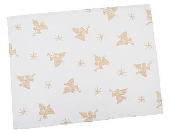 Салфетка подкладка под тарелку новогодняя тканевая белая 34 х 44 см новорічна серветка серветки, фото 2