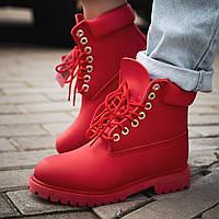 Ботинки женские Timberland (Термо) красные (Top replic)