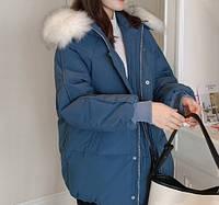 Куртка-пуховик женская теплая зимняя с капюшоном, синяя, фото 1