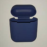 Чехол на AirPods темно-синий, силиконовый