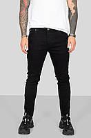 Мужские джинсы черные зауженные приталенные однотонные