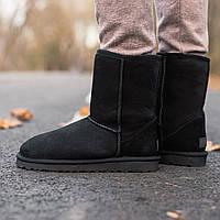 Угги женские зимние UGG Classic Short II Boot (МЕХ) черные (Top replic)
