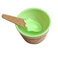 Мороженица с ложечкой Happy Ice Cream, креманка для мороженого, Салатовая, с доставкой по Украине