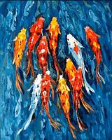 Картины по номерам 40×50 см. Карпы Кои 2 Художник Мариам Раззаги, фото 1