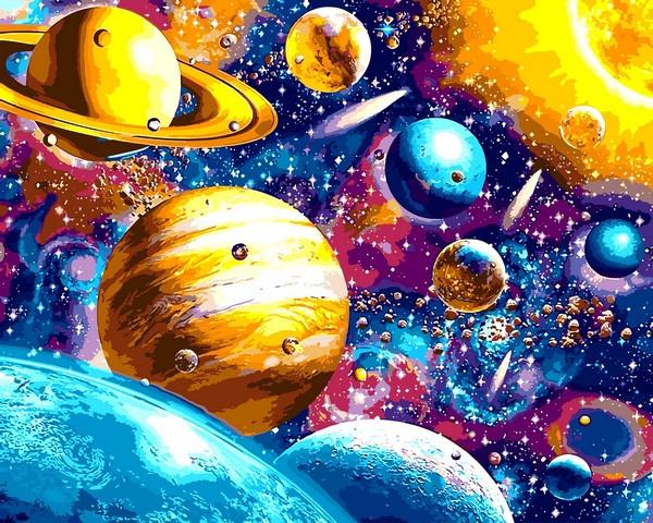 Картины по номерам 40×50 см. Солнечная система