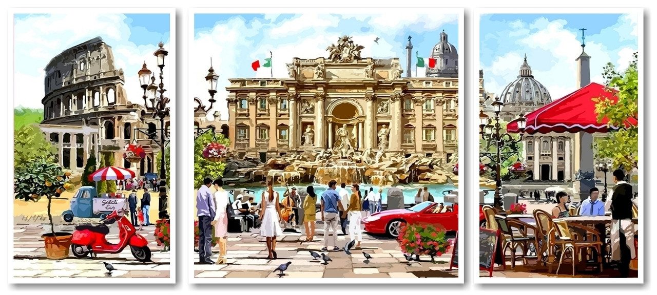 Картины по номерам 50х110 см. Триптих Рим столица Италии
