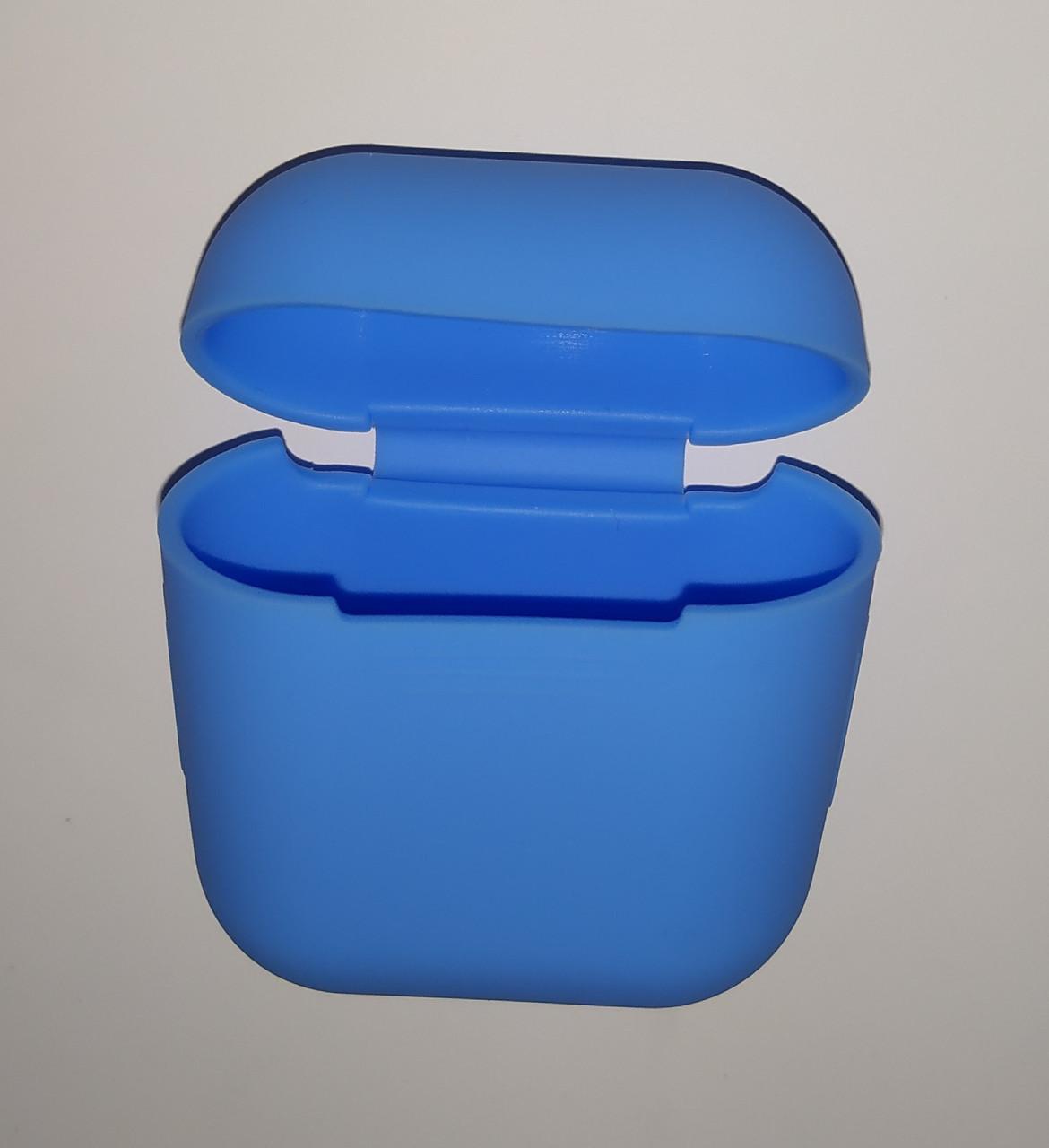 Чехол на AirPods синий, силиконовый