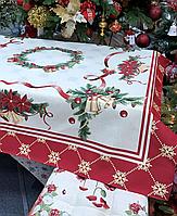 Скатерть гобеленовая, новогодняя CARPI с люрексом 300х140 см 716-027