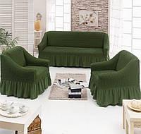 Чехол для дивана трехместного и два чехла для кресла зеленого цвета Evibu Турция
