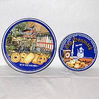 Пара жестяных коробок для хранения мелочей, швейных принадлежностей, конфет, диаметр 26 см и 19 см