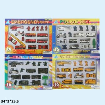 """Набор моделек """"Транспорт"""", 16шт/упак., металлические, 4 вида, 248927"""