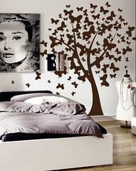 """Вінілова наклейка на шпалери """"Дерево з метеликів"""" Великий (205х170 см)"""