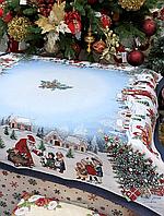 Скатерть гобеленовая, новогодняя VILLAGE с люрексом 140х140 см 716-038