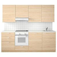 IKEA METOD Кухня, белая Максимера, Эш Аскерсунд, 240x60x228 см (692.291.56)