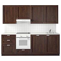 IKEA METOD Кухня, белая Максимера, Edserum коричневого цвета, 240x60x28 см (291.323.40)