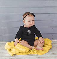 Жовтий в'язаний теплий плед для малюків