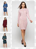 Женское вязаное платье миди с косами /разные цвета, 42-48, PR-55410/
