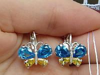 Сережки метелики з жовто синіми каменями, срібло