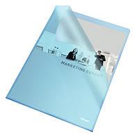 Папка-уголок Esselte Standart А4 прозрачная синяя 25 шт