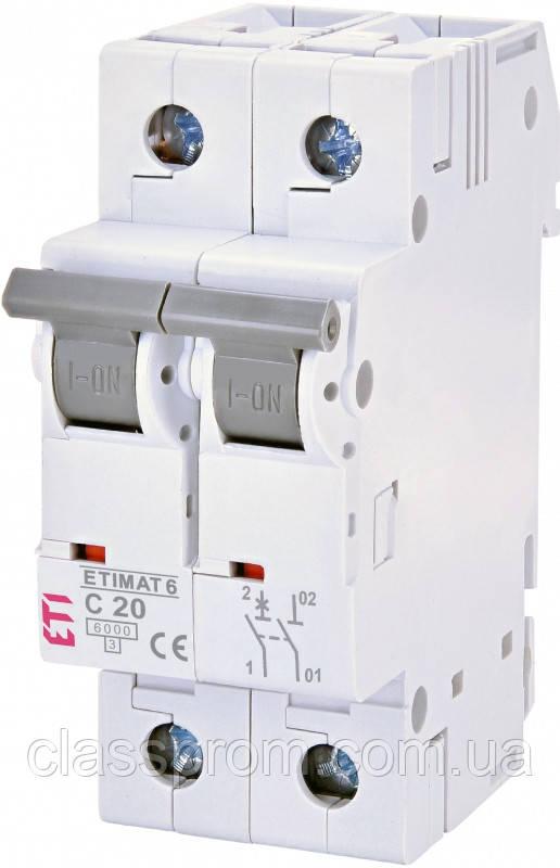 Автоматический выключатель ETIMAT 6 1p+N С 20А (6kA), ETI, 2142517