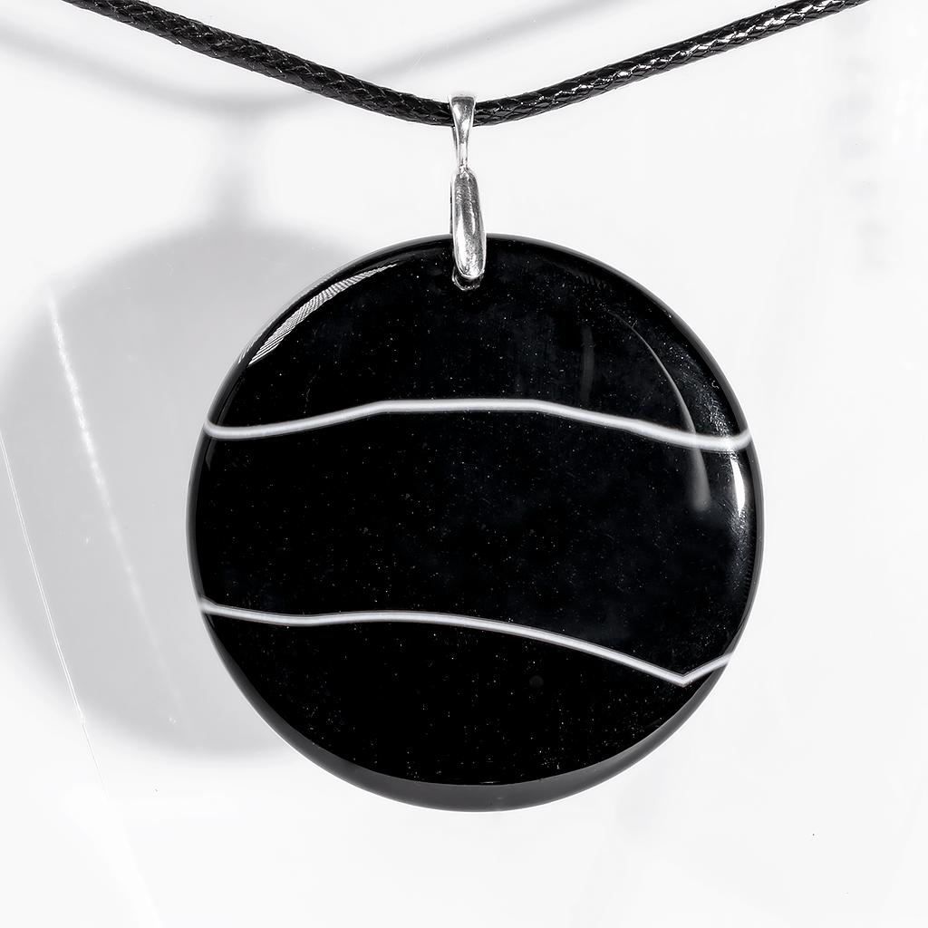 Кулон с ониксом, Ø53 мм., серебро, 1176КЛО