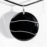Кулон с ониксом, Ø53 мм., серебро, 1176КЛО, фото 1