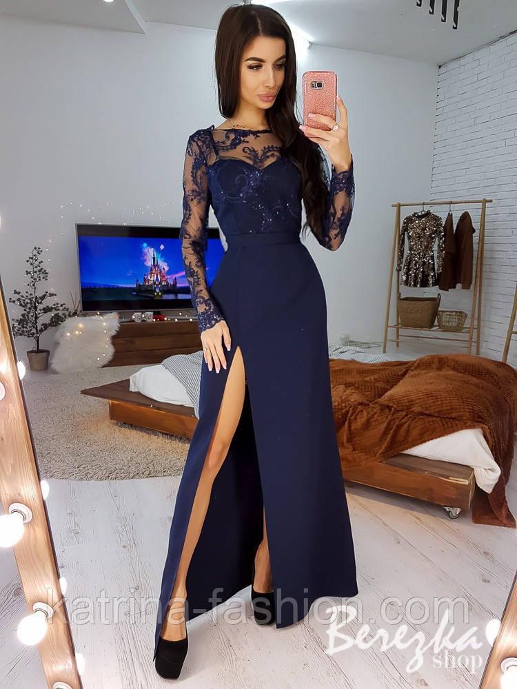 Женское платье макси с разрезом и кружевным верхом (в расцветках)