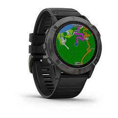 Смарт-годинник Garmin Fenix 6X Sapphire - Carbon Gray DLC with Black Band з чорним ремінцем