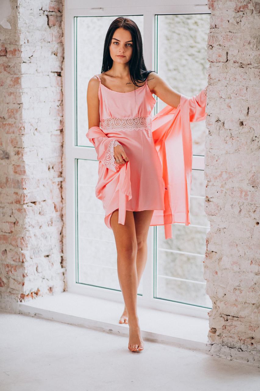 Розовая ночная сорочка с халатом (комплект) из шелка