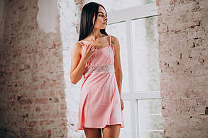Розовая ночная сорочка с халатом (комплект) из шелка, фото 2