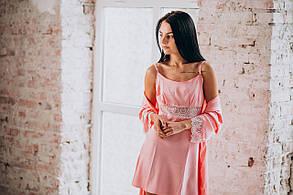 Розовая ночная сорочка с халатом (комплект) из шелка, фото 3
