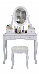 Туалетний столик із дзеркалом і LED підсвічуванням Wooden Dresser K001 білий + табурет (9131)
