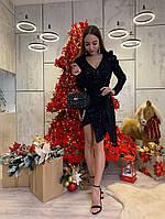 Женское нарядное  блестящее платье,черного цвета