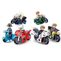 Конструктор SLUBAN, мотоцикл, фигурка, от 45 деталей, 12шт/упак., M38-B0717