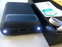 Power Bank 10000mAh Оригинал!+ГАРАНТИЯ 6МЕСЯЦЕВ на 2USB+фонарик Hoco B20Mige черный белый Внешний аккумулятор