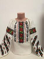 Детская белая льняная вышиванка для девочки с вышивкой Мелания Piccolo L