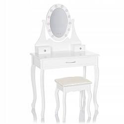 Туалетный столик c зеркалом и LED подсветкой Wooden Dresser K002 белый + табурет (9132)