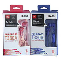 Вакуумные наушники с микрофоном стилизованные под JBL T380A, фото 1