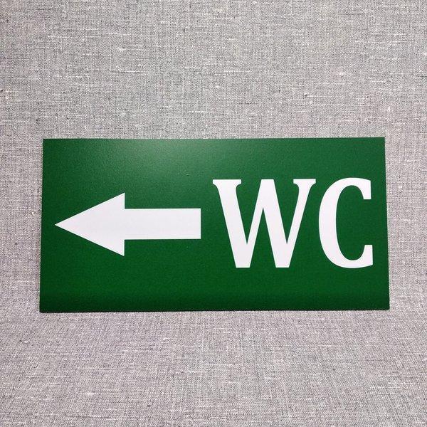 """Табличка """"WC"""" стрелка влево"""